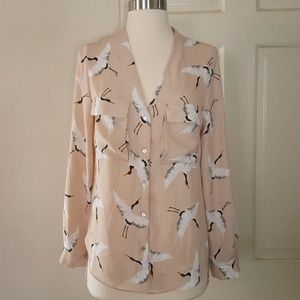 Zara Bird Open Back Button Down Shirt